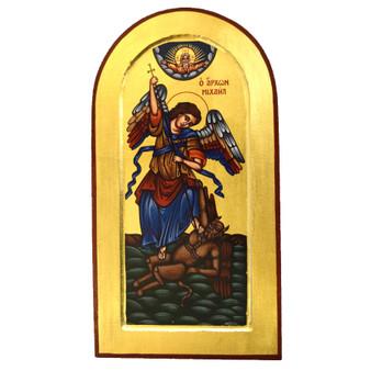 St. Michael Battling Satin Icon, 16.5 x 7.5 inches.