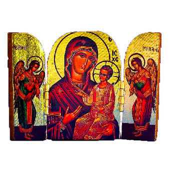 Madonna and Child Triptych Icon with Angles, 2.75 x 2 inches fully open