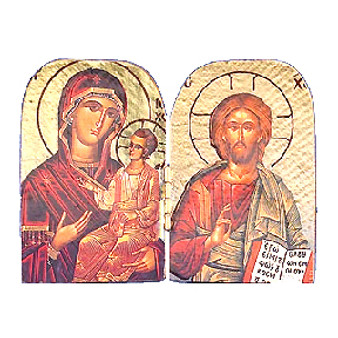Hodegetria and Pantocrator Icon, 3-7/8 x 2 3/4-inches.