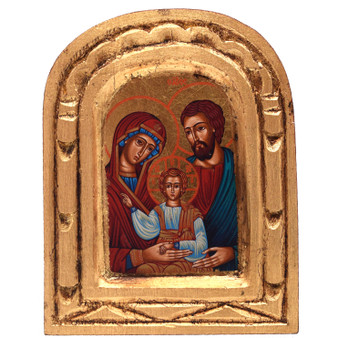 Holy Family Hand Painted and Carved Icon, 5 x 4 inches