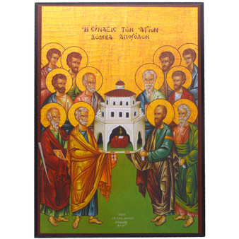 Icon of Apostles Upholding Christ's Church, 5.5 x 8 inches.