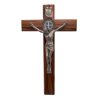 Olive Wood St. Benedict Crucifix, 9 x 5.5 inches.