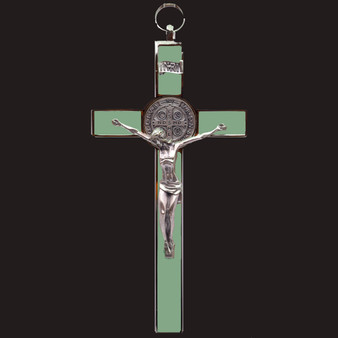 "Luminous Silver Tone Edges St. Benedict Cross, 7.5 x 4 inches.  ""Glow in the Dark."""