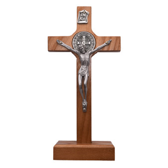 Light Brown Wood St. Benedict Crucifix on Stand, 7.5 x 3.5 inches.