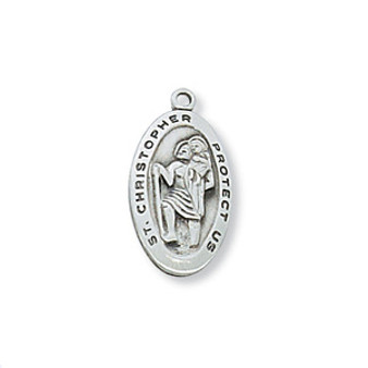 """Sterling Silver St. Christopher 18"""" inch chain"""