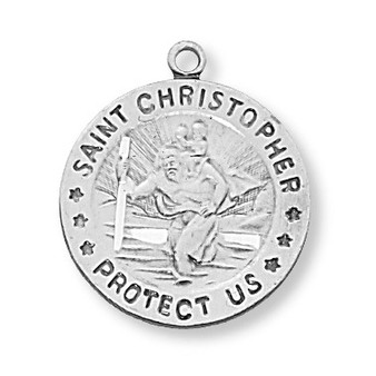 Sterling silver St. Christopher medal with landscape background, 18 Chain & gift box.  Dimension 3/4 inch diameter