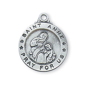 "Sterling silver St. Anne 18"" chain & gift box.  Diameter: 5/8""."