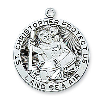 Sterling silver St. Christopher medal, dimension 1 2/16 inches long, 24 inch Chain and gift box.