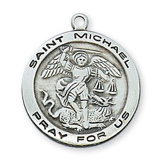 """Sterling silver St. Michael patron saint of police officers and warriors with 18"""" rhodium plated chain."""