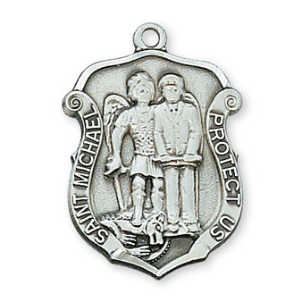 """Sterling silver St. Michael the Protector medal with 20"""" rhodium plated chain, deluxe gift box included.  Dimension: 1 2/16"""" long."""