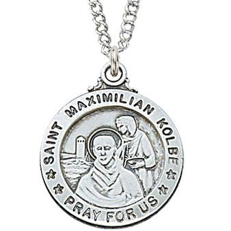 "Sterling silver, St. Maximilian Kolbe medal, 20"" chain, dimension: 3/4""."