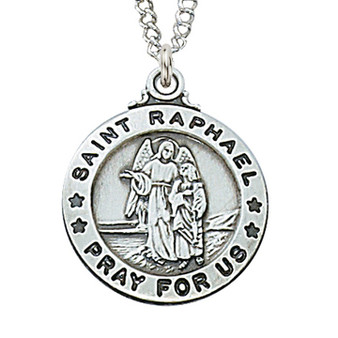 """Sterling silver St. Raphael medal with 20"""" rhodium plated chain, deluxe gift box included.  Dimension: 3/4"""" long."""