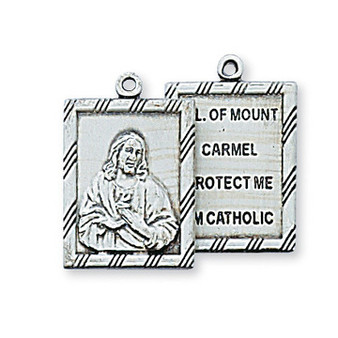 Sterling silver metal scapular of Christ and Madonna and Child