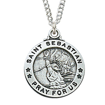 "Sterling silver medal of Saint Sebastian. 20"" chain with red velour gift box.  Dimension: about 3/4"" round."