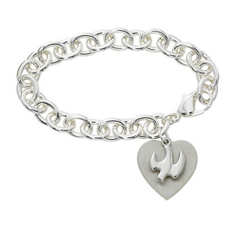 Adult silver tone bracelet with Holy Spirit and Engravable Heart .