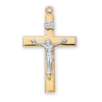 "Gold on sterling silver two tone crucifix 18"" rhodium plated chain.  Dimension: 1 ¼"" long."