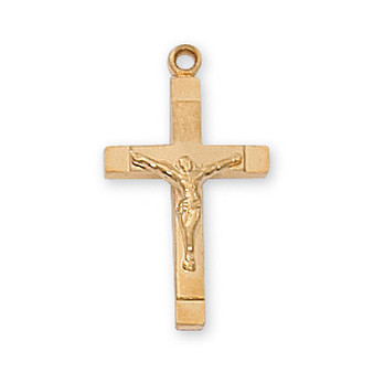 "Gold on sterling silver two tone crucifix 18"" rhodium plated chain.  Dimension: 13/16"" long."