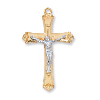 "Gold on sterling silver two tone crucifix 18"" gold plated chain with gift box.  Dimension: 1-3/8"" long."