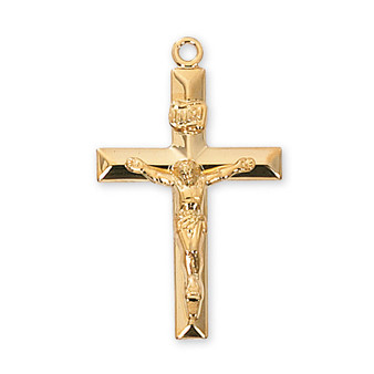 "Gold on sterling silver crucifix 24"" gold plated chain.  Dimension: 1 1/4"" long.  Gift Box"