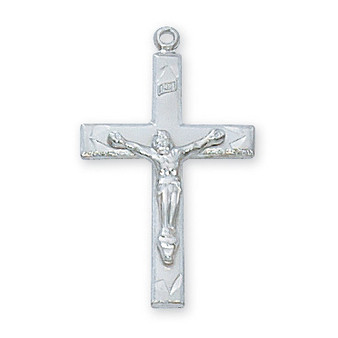"""Sterling silver crucifix 18"""" rhodium plated chain.  Dimension: 7/8 inch.  Deluxe gift box."""