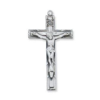 """Sterling crucifix 24"""" rhodium plated chain.  Dimension: 1 3/4 """".  Deluxe gift box."""
