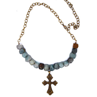 Color Stones and Metal Coptic Cross Necklace