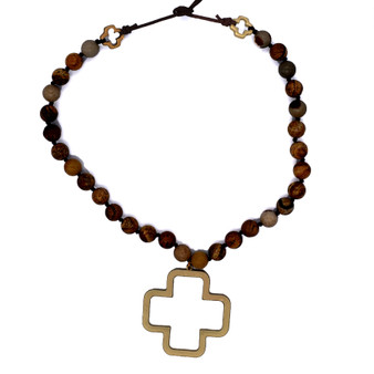 Stone Necklace with Metal Cross