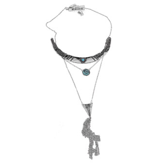 Silver Tone and Black Metal Necklace with Link Tassel