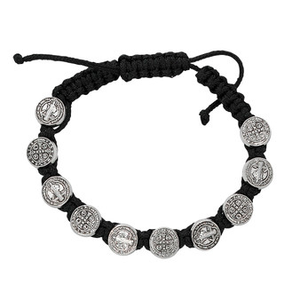 Corded St. Benedict Rosary Decade Adjustable Bracelets, Available in Black, Red, Purple and Blue.