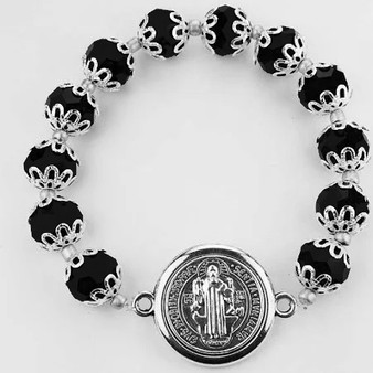 Black Glass Bead Cap St. Benedict Stretch Bracelet