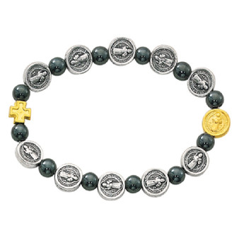 St. Benedict Stretch Bracelet, Silver and Gold Tone Cross and Medals