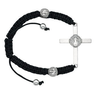 Black Corded Bracelet with  St. Benedict Medals and Cross