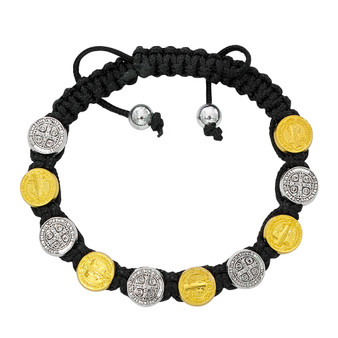 Corded Silver and Gold Benedict Bracelet, Adjustable Size