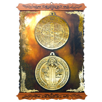 Scroll with St. Benedict Medal in Copper and Gold Tones