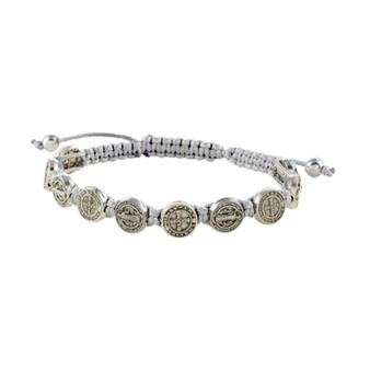 Corded St.  Benedict Adjustable Bracelet in White, Black and Gray.