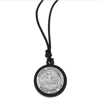 Black Frame St. Michael Medal with Cord