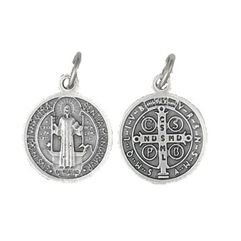 Silver tone Saint Benedict Double Sided Round Medal, 1.25 inches