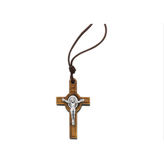 "St. Benedict Cross Necklace Olive Wood Pendant, 2"""