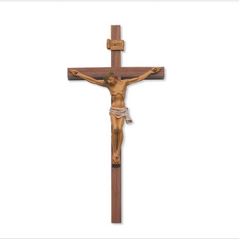 "12"" Walnut Crucifix with Painted Corpus."