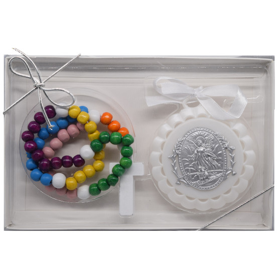 Angel Crib Medal and Rosary Set for Baby
