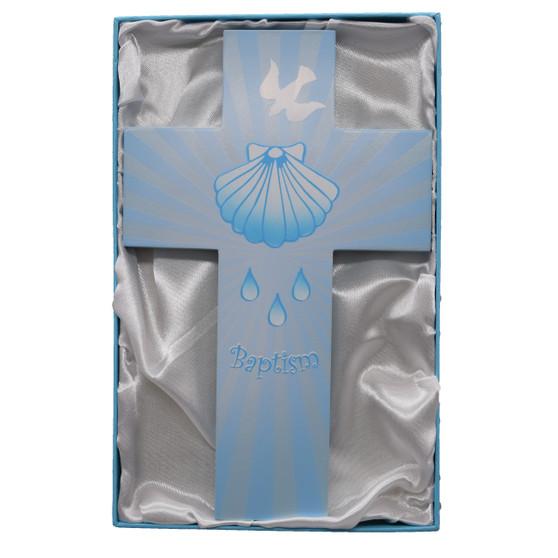 8 Inch Blue Wood Baptism Cross