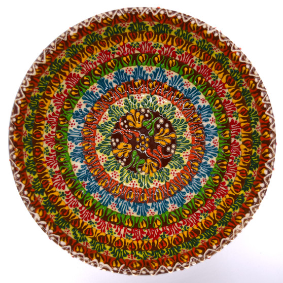 Hand Painted Relief Turkish Ceramic Decorative Bowl, Diameter 6 ins., Height 3 ins., Dual Cross Pattern at Center