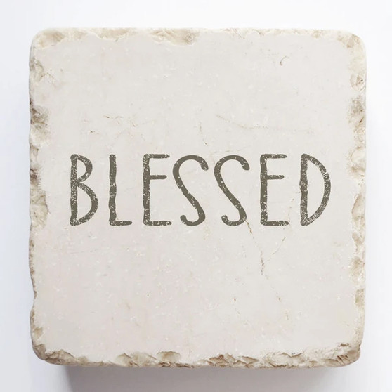 """""""Blessed"""" Scripture Stone, 2"""" x 2"""" x 1"""""""