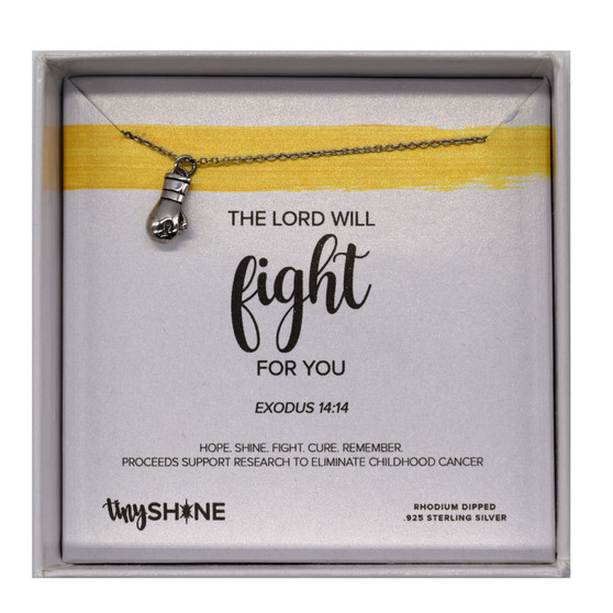 "The Lord Will Fight for You Necklace, Sterling Silver Rhodium Dipped, 14"" Chain"