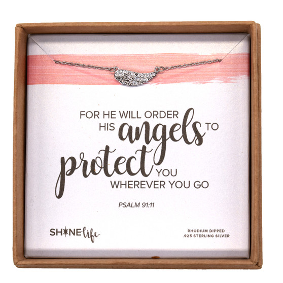"""""""For He Will Order His Angels to Protect You Wherever You Go,"""" Sterling Silver Rhodium Dipped, 14"""" Chain"""