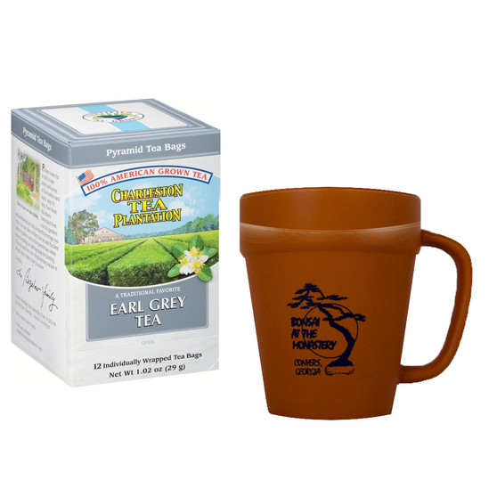 Charleston Tea Plantation Earl Grey Tea and 16 oz. Abbot's Table Honey, Includes Terracotta Mug with Black Graphics
