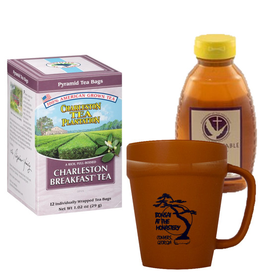 Charleston Tea Plantation Breakfast Tea and 16 oz. Abbot's Table Honey, Includes Terracotta Mug with Black Graphics