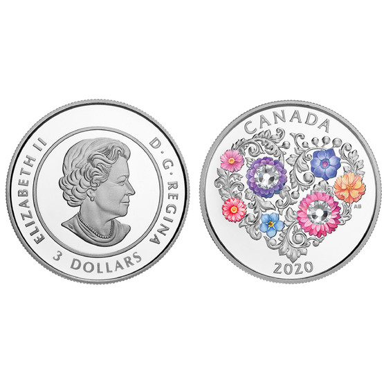 "3 Canadian Dollar 2020 .28 Oz Silver ""Love Coin"" with Swarovski® Crystals"