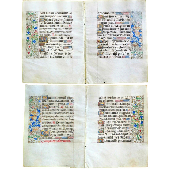Complete Magnificat, From Illuminated Book of Hours circa 1475, Double leaf, 4 pages
