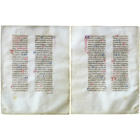 Breviary Leaf, Paper, Red and Blue Initial with line drawings, circa 1460